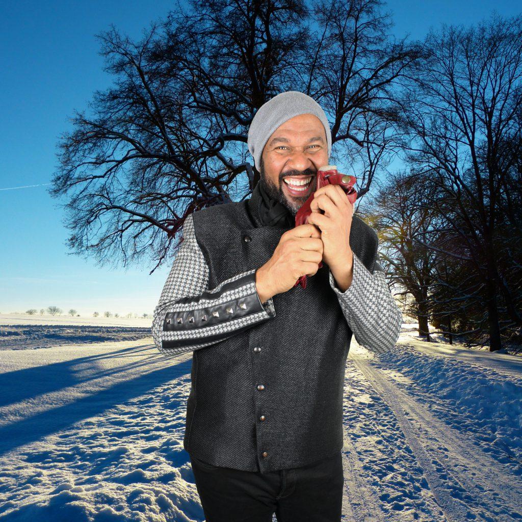 Herrenjacke mit Nieten im Schnee